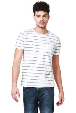 People White Half Sleeves Striped T-Shirt