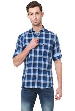 Allen Solly Blue Half Sleeves Checks Shirt