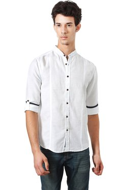 People White Band Collar Regular Fit Shirt