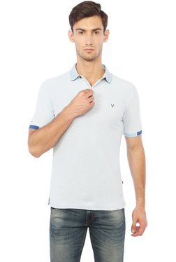 Allen Solly Light Blue Cotton Regular Fit T-Shirt