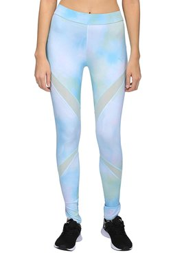 Puma Blue & White Printed Evo Mesh Insert Leggings