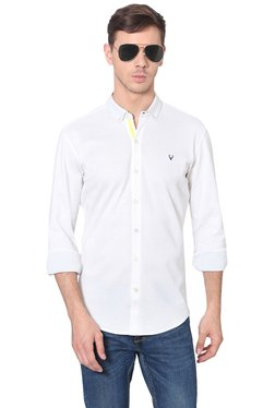 Allen Solly White Button Down Collar Slim Fit Shirt