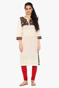 Soch Off White & Brown Printed Cotton Kurta