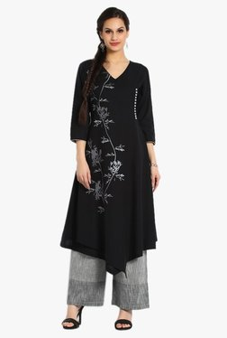 Soch Black & Grey Printed Khadi Kurta With Palazzo