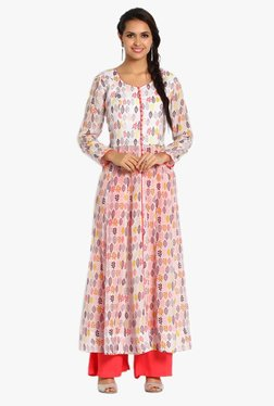 Soch Off White & Coral Printed Cotton Kurta With Palazzo