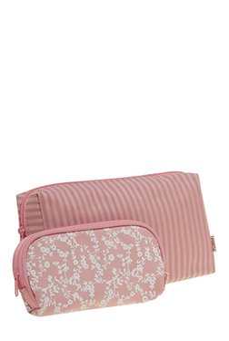Esbeda Pink & White Printed Pouch - Pack Of 2 With Case