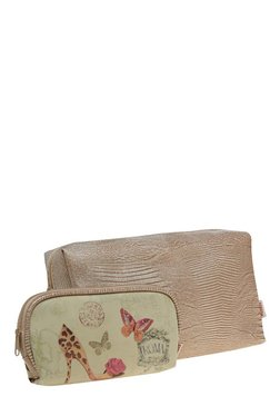 Esbeda Light Brown & Beige Pouch - Pack Of 2 With Case