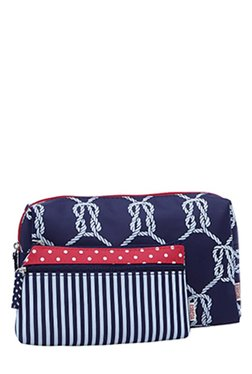 Esbeda Navy & White Printed Pouch - Pack Of 2 With Case