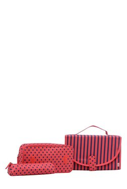 Esbeda Red & Navy Printed Travel Kit With 2 Pouches