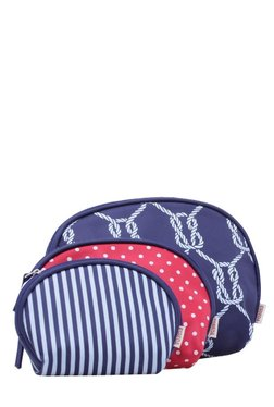Esbeda Navy & Pink Printed Pouch - Pack Of 3 With Case
