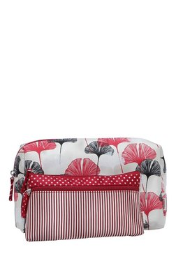 Esbeda White & Red Printed Pouch - Pack Of 2 With Case - Mp000000002136750