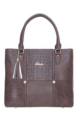 Esbeda Crocopatch Dark Brown Snake Textured Shoulder Bag
