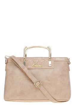 Esbeda Croco Beige Distressed Handbag