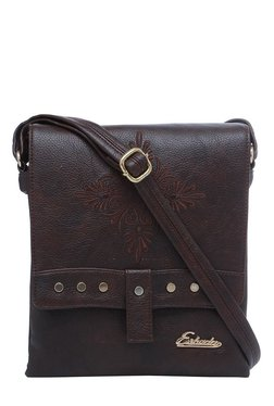 Esbeda Drymilk Dark Brown Embroidered Flap Sling Bag - Mp000000002136782