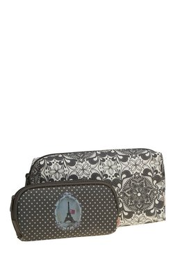 Esbeda White & Black Printed Pouch - Pack Of 2 With Case