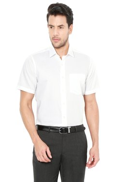 Van Heusen White Solid Half Sleeves Shirt