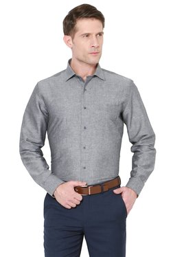 Van Heusen Dark Grey Slim Fit Full Sleeves Slim Fit Shirt