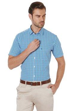 Peter England Blue Half Sleeves Checks Shirt