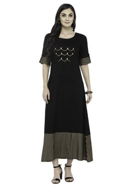 Varanga Black Printed Rayon Dress