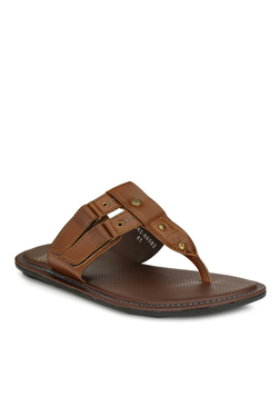 Alberto Torresi Branco Dark Tan T-Strap Sandals