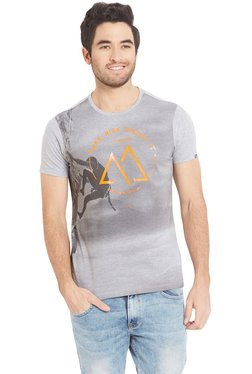 Spykar Light Grey Half Sleeves Printed Cotton T-Shirt