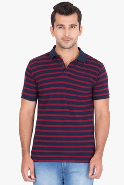 Red Tape Navy Half Sleeves Striped Polo T-shirt