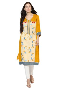 Mytri Mustard & Beige Embroidered Cotton Straight Kurta