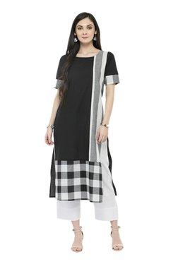 Varanga Black & White Checks Cotton Kurta With Pants