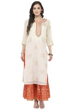 Varanga White & Orange Cotton Blend Kurta With Skirt