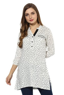 Mytri Off White & Black Printed Rayon Straight Kurti