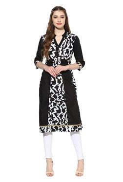 Mytri Black & White Printed Polyester Anarkali Kurta
