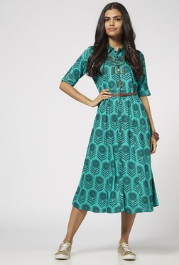 Bombay Paisley By Westside Green Dress With Belt