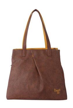 Baggit Tiramisu Brown & Mango Yellow Distressed Shoulder Bag