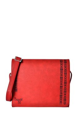Baggit Spazzy Red Cut Work Flap Sling Bag