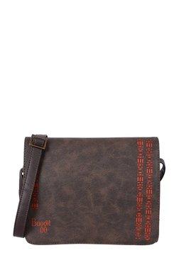 Baggit Spazzy Dark Brown Cut Work Flap Sling Bag