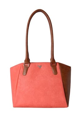 Baggit Rowling Coral Red & Brown Distressed Shoulder Bag