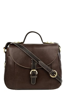 Hidesign Topaz 01 Chocolate Brown Solid Leather Satchel Bag