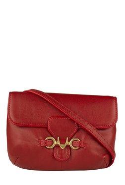 Hidesign Melissa W2 Dark Red Leather Flap Sling Bag