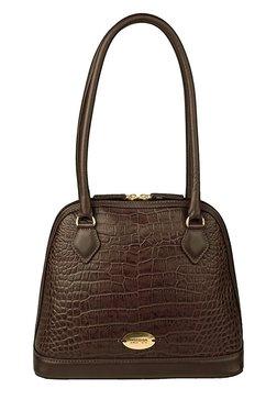 Hidesign EE Cleo 01 Dark Brown Textured Leather Shoulder Bag