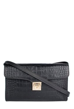 Hidesign Stampa 02 Black Textured Leather Flap Sling Bag