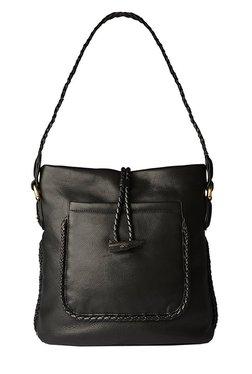 7d8cce56d557 Hidesign Beluga Black Interlaced Leather Shoulder Bag