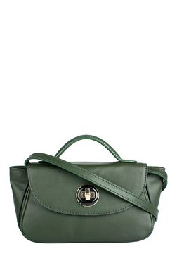 Hidesign Vitello 03 Olive Green Solid Leather Sling Bag