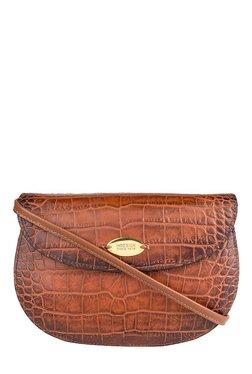 Hidesign Croco W3 Tan Textured Leather Saddle Sling Bag