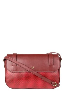 Hidesign Venus 01 SB Red Textured Leather Flap Sling Bag