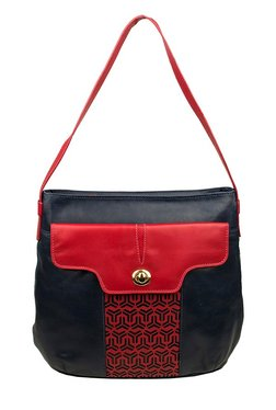 Hidesign Paulette 02 Black Cut Work Leather Shoulder Bag