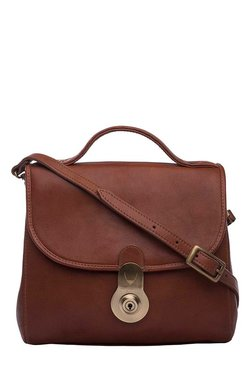 Hidesign Marina Brown Solid Leather Flap Sling Bag