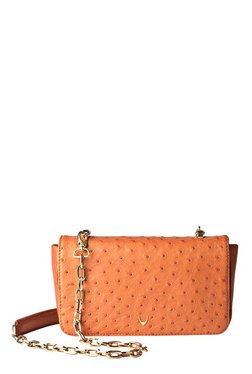 Hidesign Marne Tan Textured Leather Flap Sling Bag