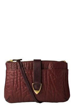 Hidesign Yangtze W3 Dark Brown Textured Leather Sling Bag
