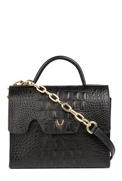Hidesign Tracey Black Textured Leather Flap Sling Bag