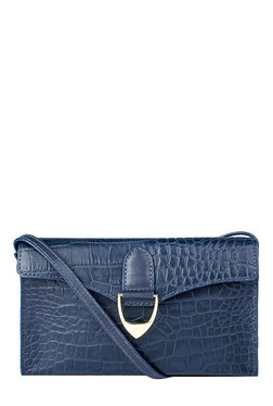 Hidesign EE Elsa W1 Blue Textured Leather Flap Sling Bag
